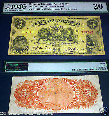 BANK OF TORONTO , CANADA  chartered BANKNOTE, 1937 $5 PMG 20