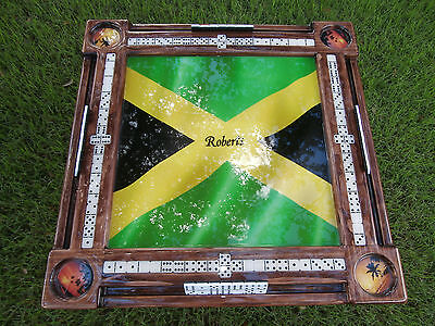 Jamaican Flag Domino Tables by Art personalized with any name or cup holder