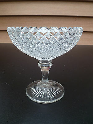 English hobnail clear glass footed compote Westmoreland Glass Co. 1920's 1940's