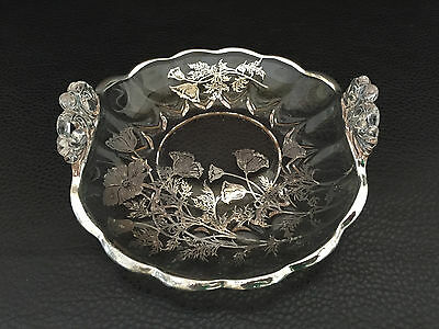 vintage silver on glass dish with handles 1950's 1960's