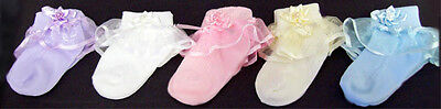 Baby Pageant Socks Lace Socks With Beads  Sizes: S-M-L 12 Pairs  Lot  (Socks8C*)