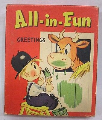 Vintage Box Humorous Greeting Cards Pop Ups Mechanical 1940s-50s AWESOME!