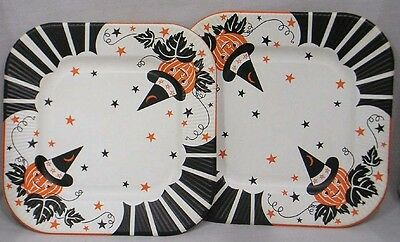 Vintage Pair HALLOWEEN Paper Plates JOL Wearing Witch Hats Stars Stripes