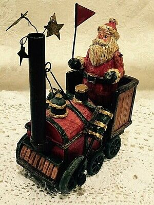 Vgt  Rustic CHRISTMAS Santa in his Train Ready to take off.