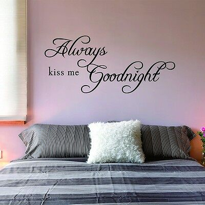 Always Kiss Me Goodnight Wall Quote Removable Art Decal Vinyl Sticker Home Decor
