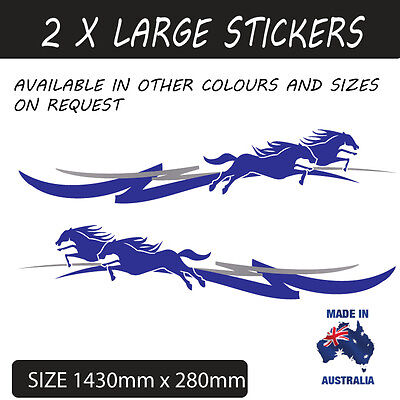 LARGE HORSE FLOAT PIN STRIPE STICKER DECAL UTE,4WD , TRAILER STYLE 8a