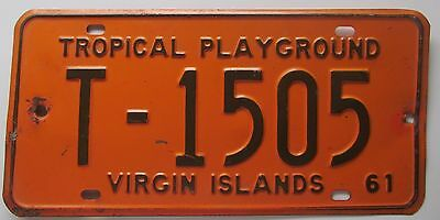 Virgin Islands 1961 ST. THOMAS License Plate NICE QUALITY # T-1505