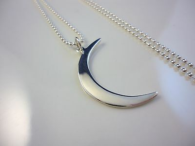 STERLING SILVER CRESCENT MOON FACE  WITH  STAR CHARM//PENDANT