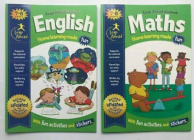 KS2 Leap ahead English & Maths Home Learning Workbooks With Stickers Ages 7-8 Ne