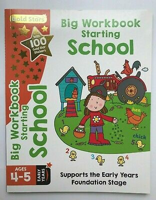 gold stars ready for school big workbook kids ages 4-5 year reception new phonic