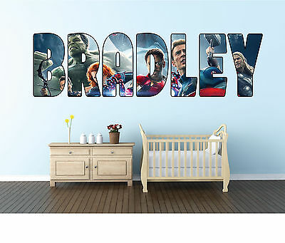 Personalised Avengers/Superhero Name Wall sticker decal for kids Boys room-WBR2