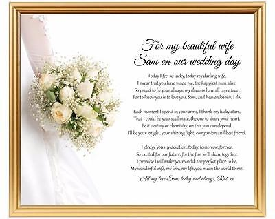 Mother Of The Groom From Bride Personalised Poem Laminated