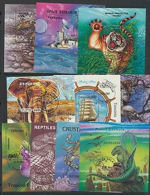 Topical Souvenir Sheets Collection 10 Different Lightly cancelled Tanzania