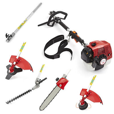 58cc 5 in 1 Petrol Long Reach Hedge Trimmer Chainsaw Strimmer Brushcutter 3.3HP