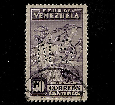 1938 Venezuela 50c Gathering Coffee Beans Sc#338 Official G.N Perfin Used
