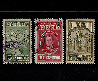1938 Venezuela Lot of 3 Official G.N Perfin Used