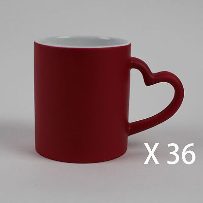 36 Red heart colour changing Magic With Free Gift Boxes Sublimation Mugs 11oz