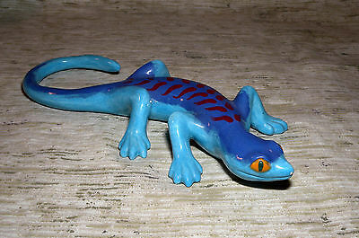 Lizard Gecko Glazed Hand Painted Blue Fired Clay Pottery Craft Free Shipping