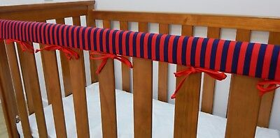 Baby Cot Rail Cover Crib Teething Pad - Red and Navy Stripes ****REDUCED****