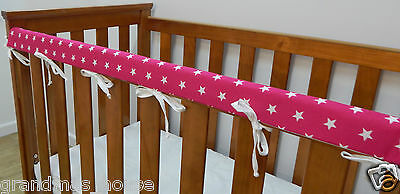 Baby Cot Rail Cover Crib Teething Pad - White Stars on Bright Pink ***REDUCED***
