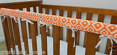 Baby Cot Rail Cover Crib Teething Pad - Orange Diamonds on White **REDUCED**