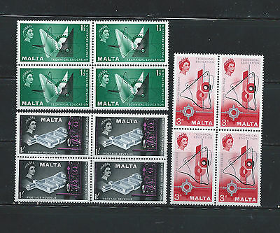 1957 Malta Technical education on Malta MNH Complete Set in Blocks SC#266-268