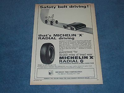 "1967 Michelin X Radial Tires Vintage Ad ""Safety Belt Driving!"""