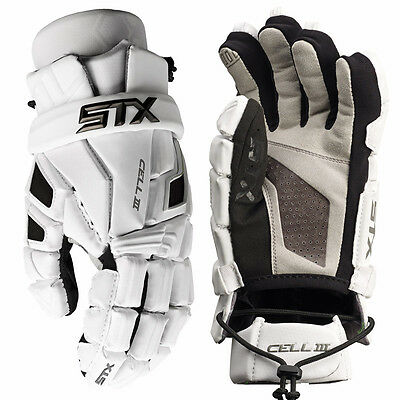 New STX Cell 3 Lacrosse Gloves White Size 13""