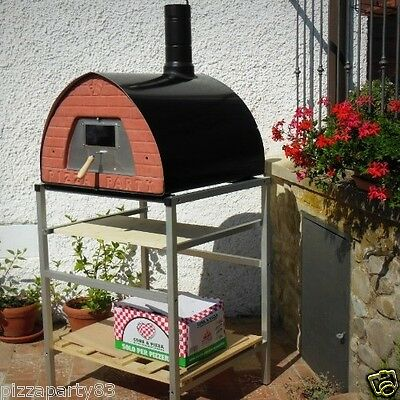Pizza Party oven GUNMETAL +Stand With Wheels + GlassDoor + 2Pizza Peel spacesave