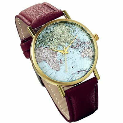 FASHION WOMEN MEN Watch World Map Globe Leather Band og Quartz Wrist on equator map, us and europe map, australia map, google map, continent map, country map, canada map, middle east map, earth map, philippines map, united states map, america map, london map, hemisphere map, tectonic plates map, global map, austria map, syria map, robinson map, usa map,