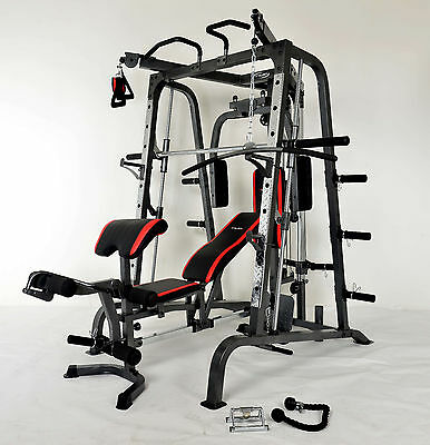 Smith Machine + Bench with Leg Developer Chin Up Cable Cross Weight & Barbell St