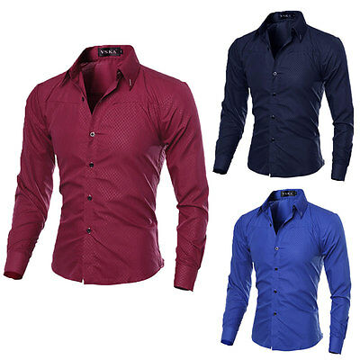 Fashion Men's Luxury Casual Shirts Slim Fit Dress Shirts Long Sleeve Button Tops