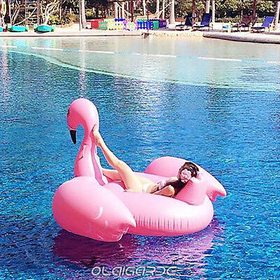 Fancy Pink Flamingo Swimming Pool Inflatable Swim Ring Float Giant Rideable