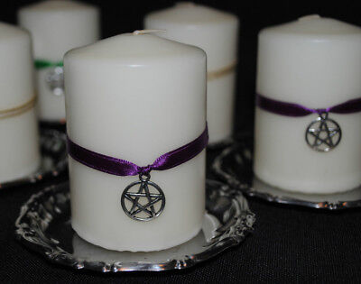 BACK IN STOCK 2 x PENTAGRAM /ARCHANGEL ALTAR CANDLES PROTECTION Blessed Anointed