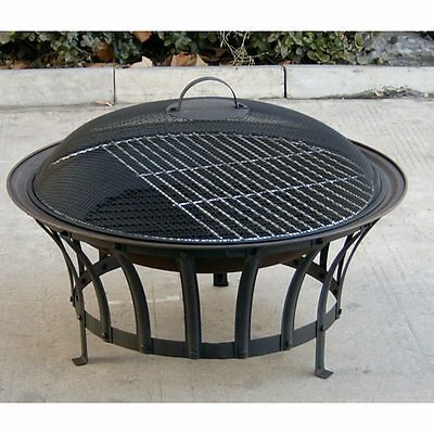 Outdoor Garden Patio Heater Steel Fire Pit Bowl Barbecue BBQ Grill & Spark Guard