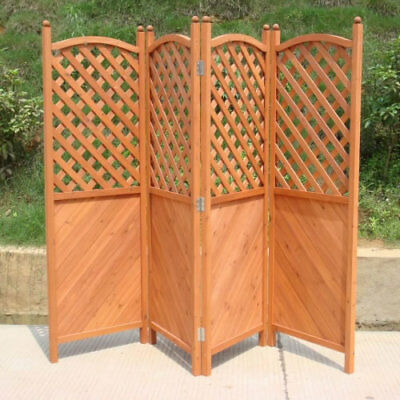 Outdoor Garden & Patio 4 Hinged Panel Wooden Latticed Privacy Screen Fence