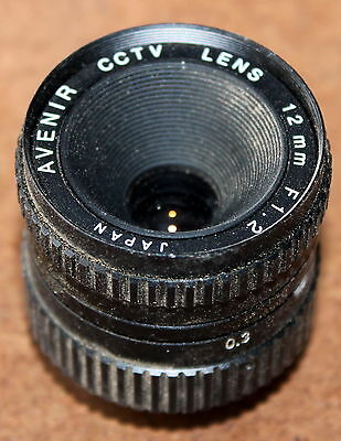 AVENIR CCTV LENS 12mm F1.2 25mm SCREW THREAD - FROM ELMO CCD CAMERA