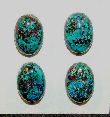 Chrysocolla Pair Cabochons 10x14mm with 5mm dome from Peru set of 4 (10977)