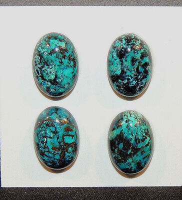 Chrysocolla Pair Cabochons 10x14mm with 5mm dome from Peru set of 4 (10983)