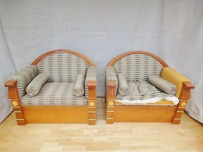 Pair of Antique Style Empire Mahogany Lounge / Club Chairs for Reupholstery
