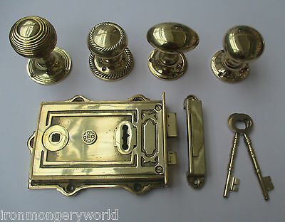 Solid Brass Ornate Vintage Old Victorian Style Bedroom Rim Door Lock + Knob Set