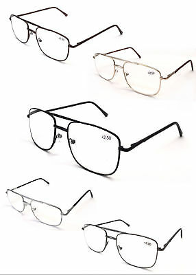 L17 Classic Big Double Bridge Metal Reading Glasses/Spring Hinges & Easy To Read