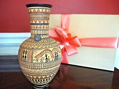 "Ancient GREEK VASE Ceremonial Ceramic ""Period 890 BC"" Rust Black Tagged Replica"