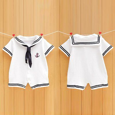 Newborn Infant Baby Boy Girls Sailor Romper Jumpsuit Bodysuit Outfit Clothes Set