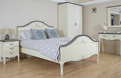 Shabby Chic Bed French Double King Ivory White Antique Vintage Style Cream