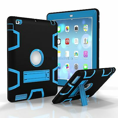 Shockproof Case Cover Protector Shield Rubber w/Stand For iPad 2/3/4 A1395 A1416