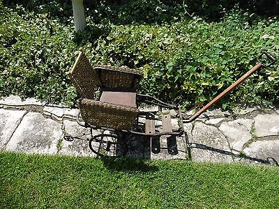 Antique Child's Pull Cart Wagon Wicker Seat