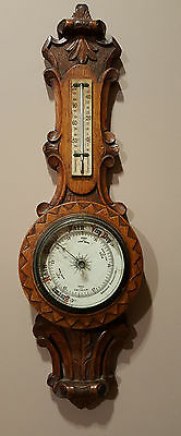 Very Rare  Antique  Wall Barometer & Termometer , Solid Wood * Colectors Item