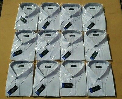 Wholesale Bulk Job lot Mens Plain White Cotton Short sleeved Shirts x 877 New