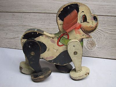 Vintage 1932-35 Fisher Price No 365 Bak-Up Puppy Dog Wind Up WORKS Toy BOTH Ears